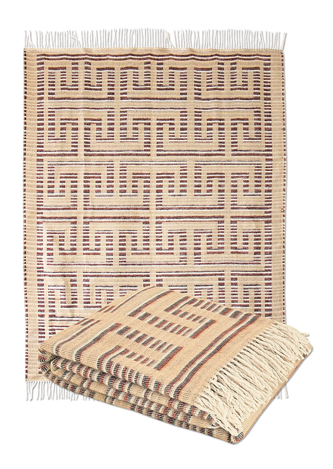 Lana Woven 100/% Cotton Throw Blanket with Fringe Assorted Colours