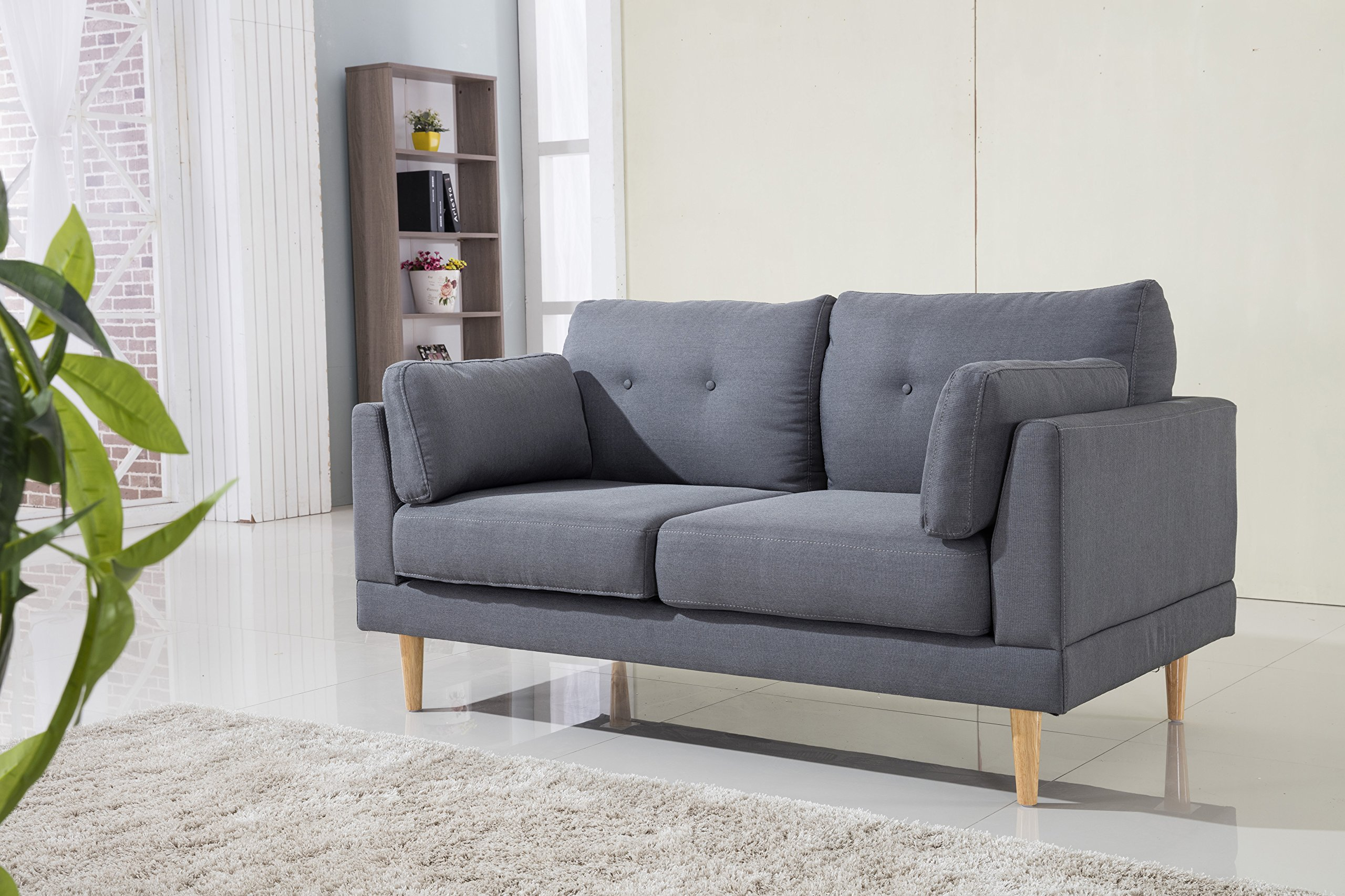 Mid Century Modern Ultra Plush Linen Fabric Sofa, Color Dark Grey and Light Grey (Dark Grey) - Mid century modern loveseat sofa with tufted cushion details Features linen fabric upholstery with 5 natural finish wooden legs 2 decorative pillows are included - cushion covers can be washed - sofas-couches, living-room-furniture, living-room - 91YHBlFE1XL -