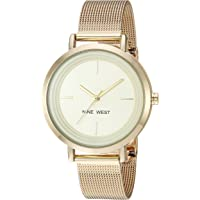 Nine West Reloj de pulsera de malla dorada para mujer