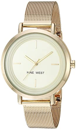Nine West Womens NW/2146CHGP Gold-Tone Mesh Bracelet Watch