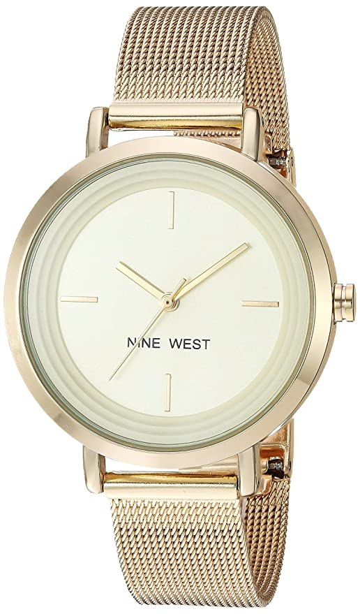Amazon.com: Nine West Womens NW/2146CHGP Gold-Tone Mesh Bracelet Watch: Watches