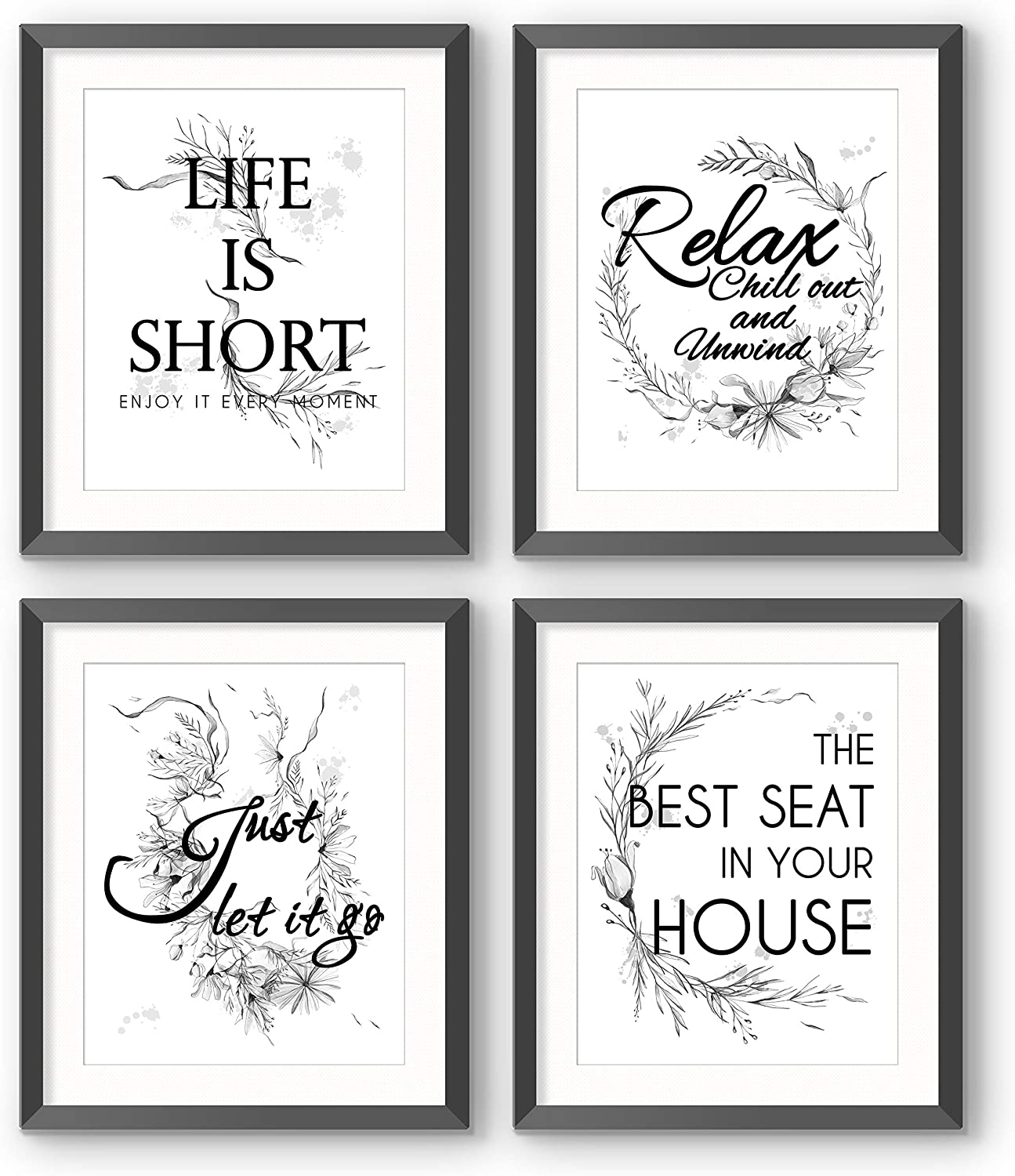 Wall Decor Bathroom Quotes Saying Prints, 8x10 Textured Watercolor Wild Foliage Black White Pictures Words Poster, Home Office Toilet Living Room Dining (Frame Not Included)
