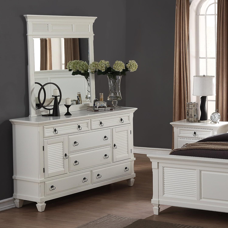 Amazon com roundhill furniture regitina 016 bedroom dresser with mirror white kitchen dining