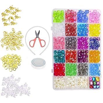 5418892d71f1 Abalorios Acrílicos Coloridos - Kit 520 Piezas por Kurtzy Cuentas Hacer  Joyas con Caja y Accesorios