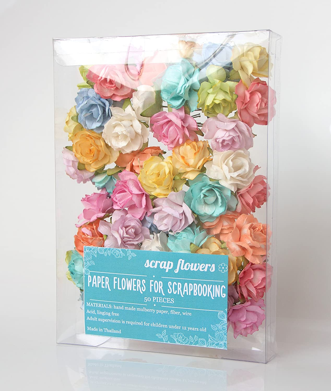 Amazon Scrapflowers 50 Tea Paper Rose Flowers For Scrapbooking