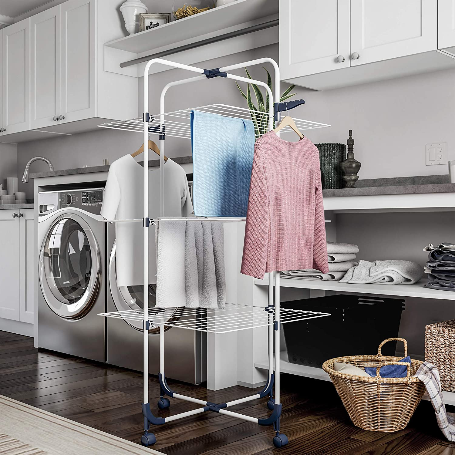 Lavish Home Clothes Rack – 3-Tiered Laundry Station with Collapsible Shelves and Wheels for Folding, Sorting and Air Drying Garments