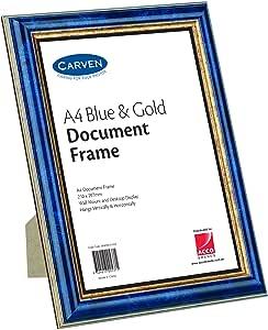 CARVEN QFWDBLGLDA4 Document Frame, Blue, Gold A4
