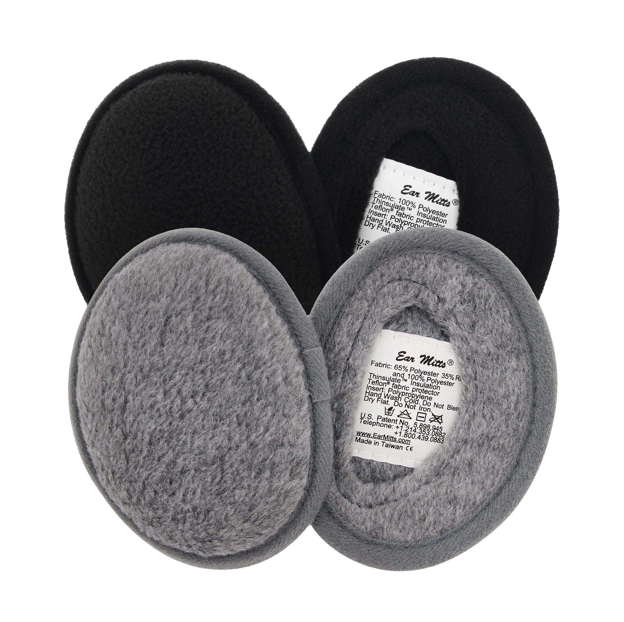 2 Pack Bundle Ear Mitts Fleece Bandless Winter Ear Muffs, Black & Gray, Regular