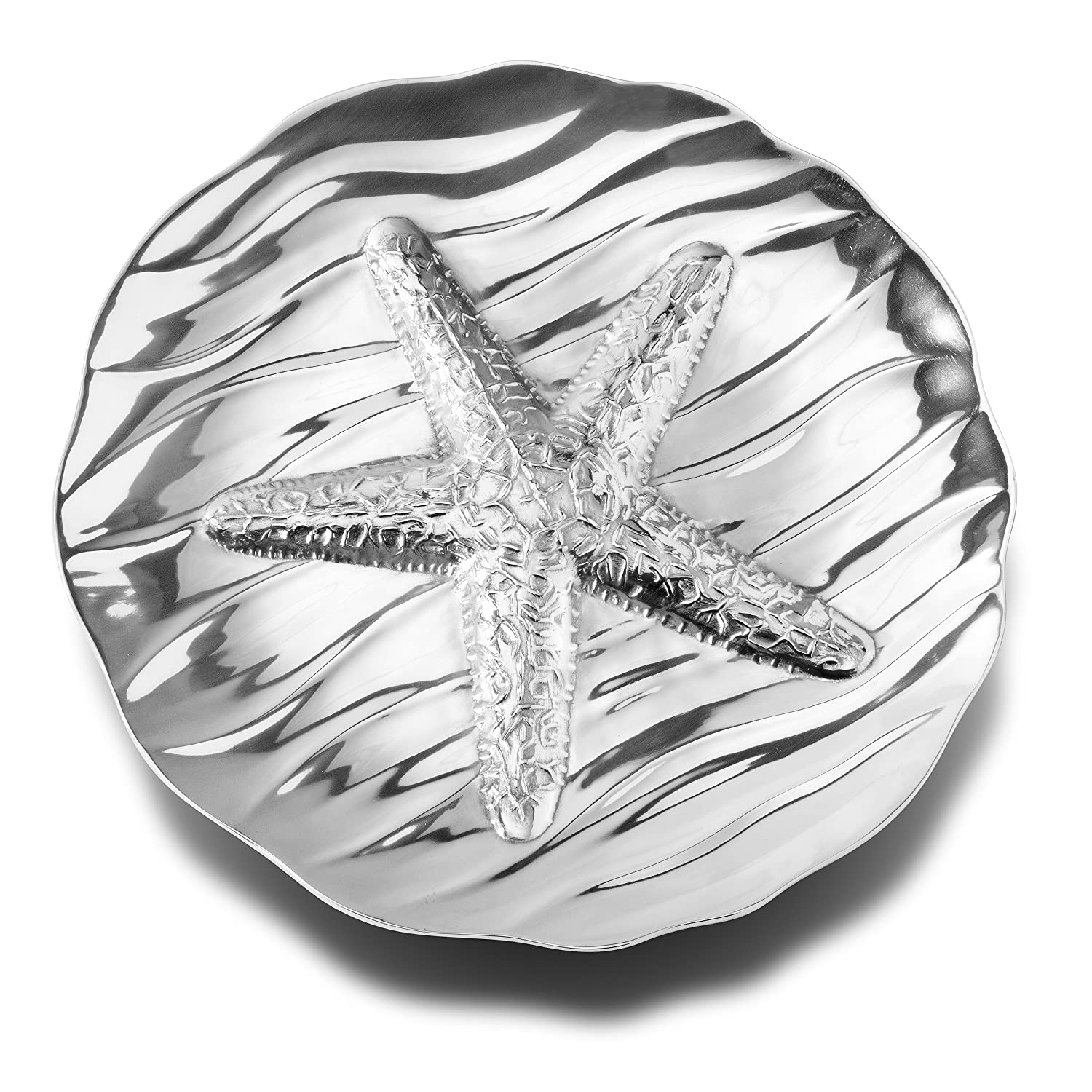 Coastal Christmas Tablescape Décor - Sea life starfish aluminum alloy large round serving tray by Designer Wilton Armetale