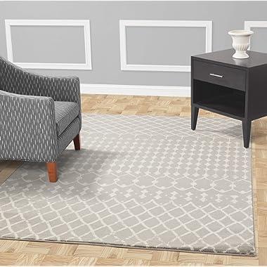 Diagona Designs Contemporary Traditional Moroccan Trellis Design 8' X 10' Area Rug, 94  W x 118  L, Gray /Ivory (JAS2113)