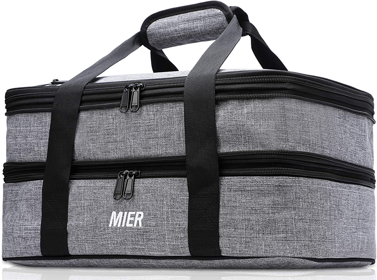 MIER Insulated Double Casserole Carrier Thermal Lunch Tote for Potluck Parties, Picnic, Beach, Fits 9 x 13 Inches Casserole Dish, Expandable, Gray