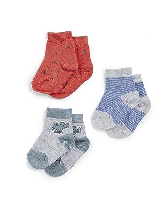 b3ed95b3a Mamas & Papas Pack of 3 Dinosaur Socks, Calcetines para Bebés, Azul (Blue