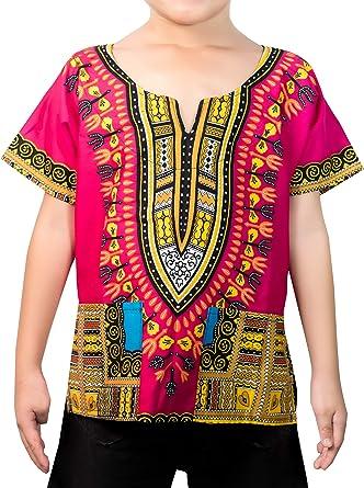 KlubKool Kids Dashiki Camisa Tribal africana Niños Niñas Camisa - Multicolor - XX-Large corto: Amazon.es: Ropa y accesorios