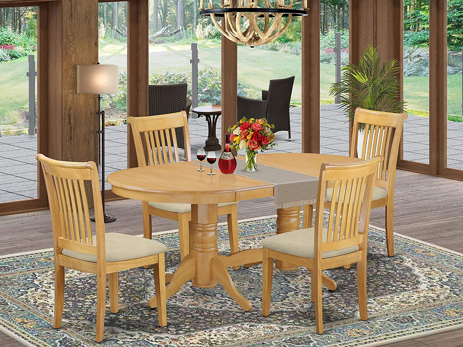 Amazon.com: 5 Pc Set Vancouver Table with one 5in Leaf and Four
