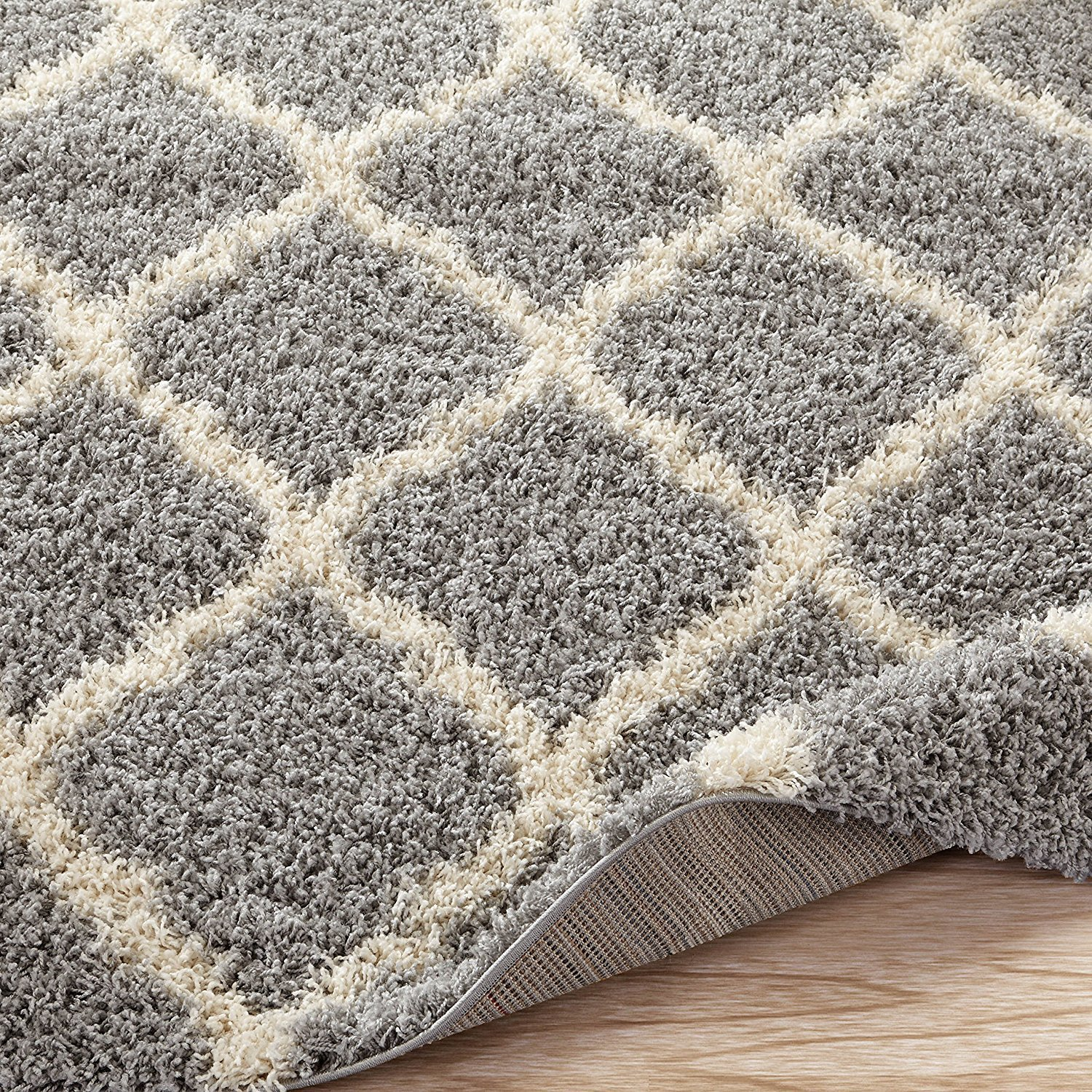 Sweet Home Stores Cozy Shag Collection Moroccan Trellis Design Shag Rug Contemporary Living & Bedroom Soft Shaggy Area Rug,   Grey & Cream,  94'' L x 118'' W by Sweet Home Stores (Image #5)