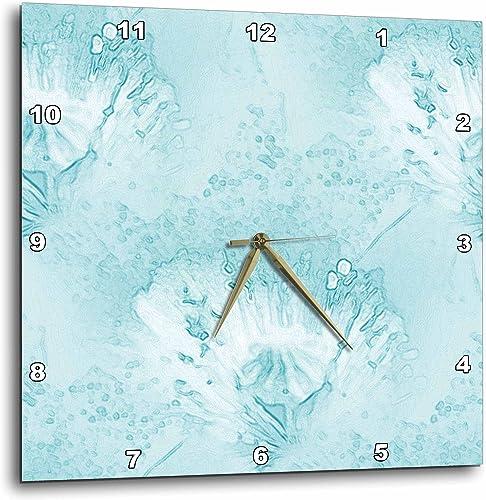 3dRose Aqua Poppy Floral Art – Wall Clock, 15 by 15-Inch DPP_26150_3