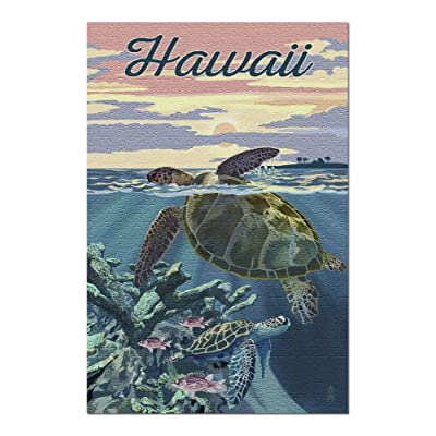 Hawaii - Loggerhead Sea Turtle and Sunset 99376 (Premium 1000 Piece Jigsaw Puzzle for Adults, 20x30, Made in USA!): Toys & Games