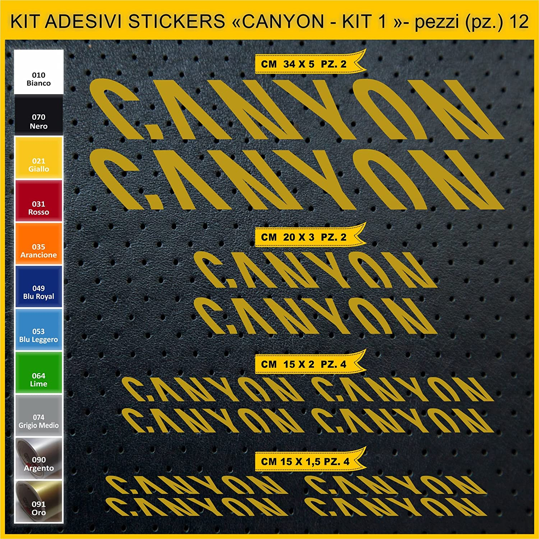 SCEGLI SUBITO COLORE 010 BIANCO Adesivi Bici CANYON KIT 1 Kit adesivi stickers 12 Pezzi bike cycle pegatina Cod.0948