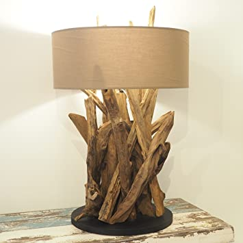 wooden teak root table lamp hallway lighting bedside table beige shade. Interior Design Ideas. Home Design Ideas