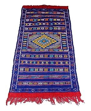 Moroccanity Beni Ourain Bleu Avec Rouge Et Jaune Designs Tapis