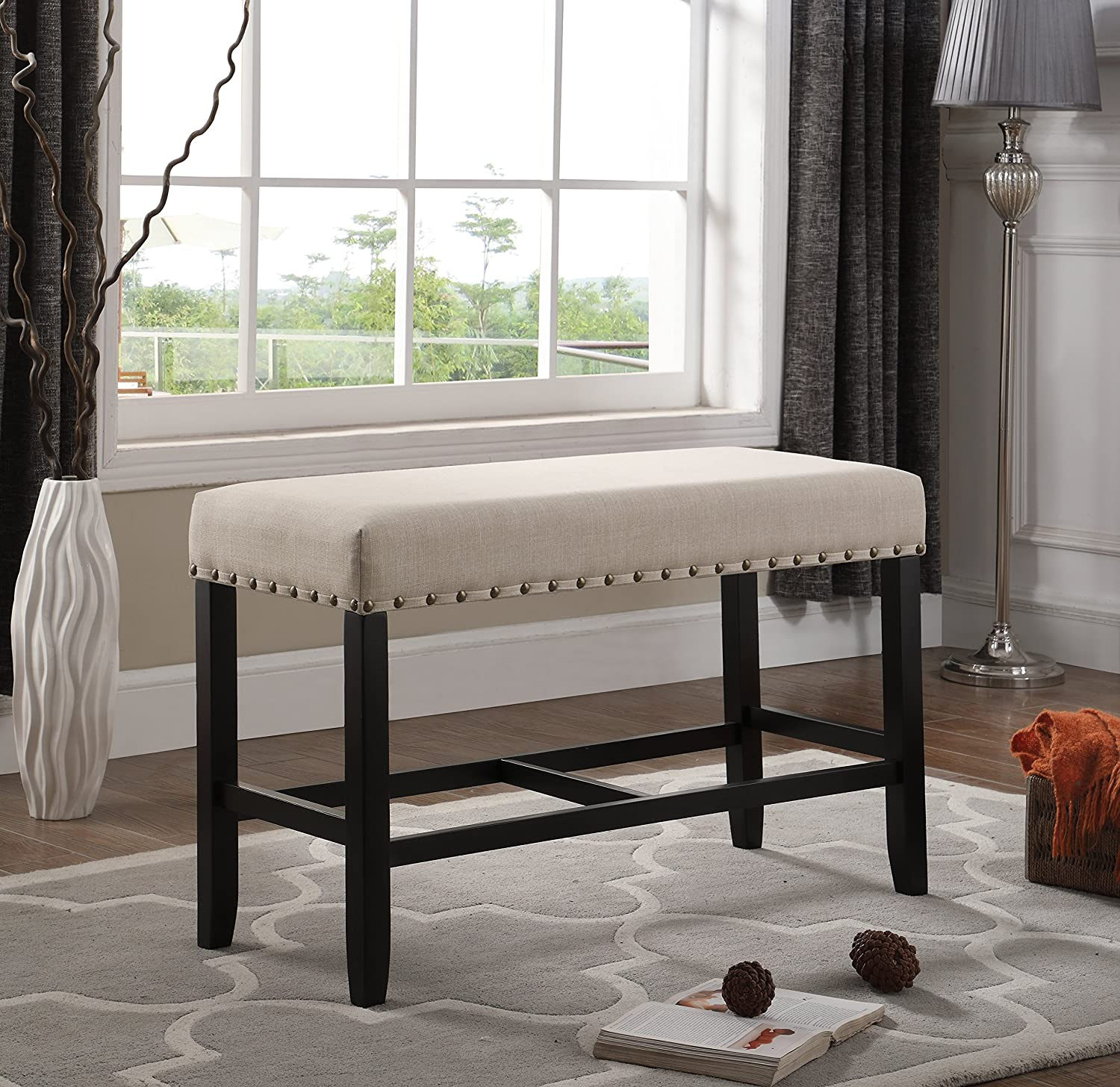Roundhill Furniture Biony Fabric Counter Height Dining Bench with Nailhead Trim, Tan