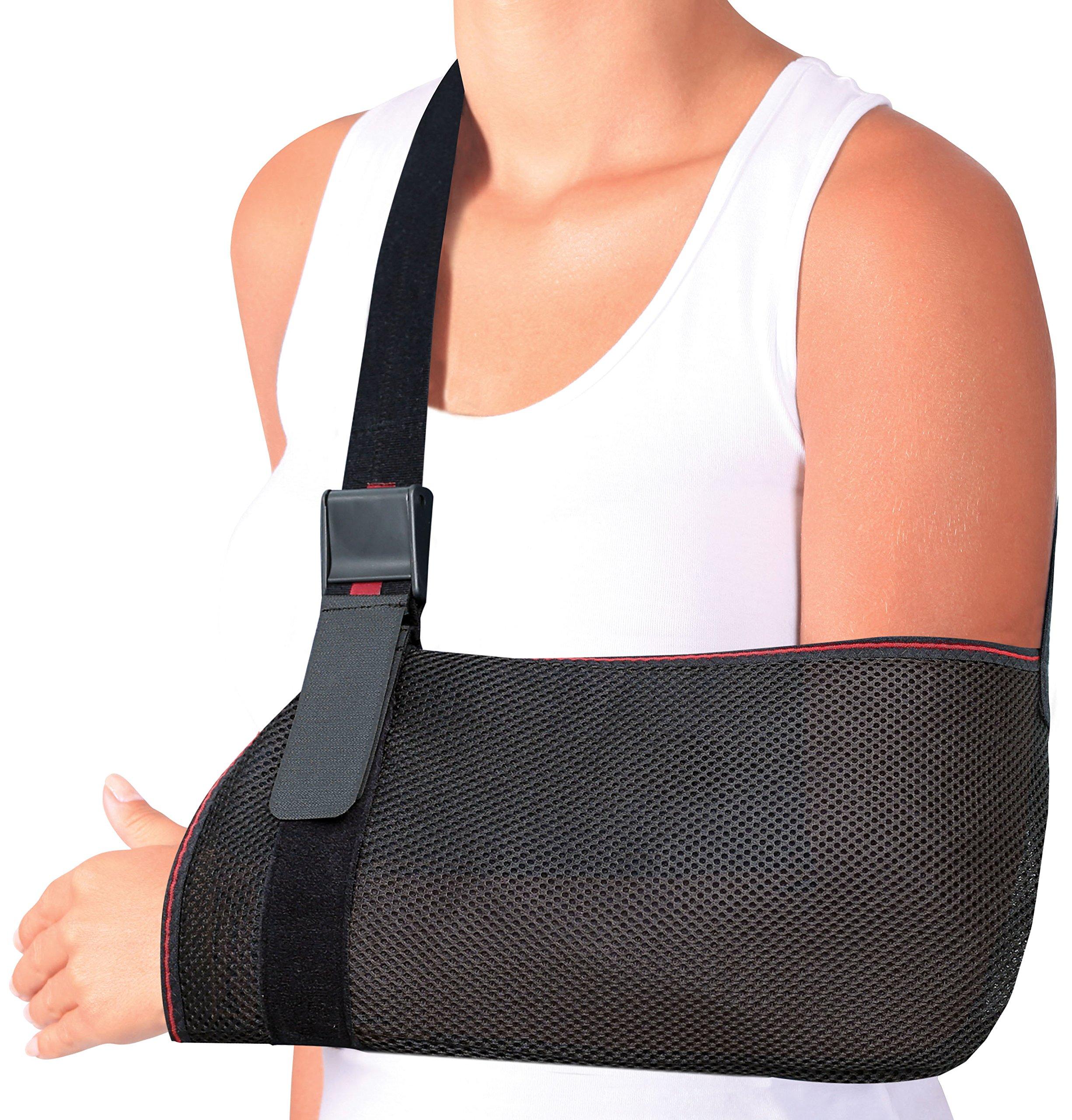 ORTONYX Mesh Arm Support Sling Shoulder Immobilizer Brace – Breathable and Lightweight – Fully Adjustable - S-M Black