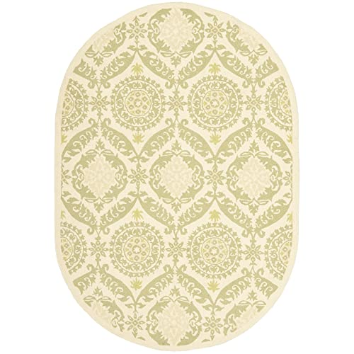 Safavieh Chelsea Collection HK356C Hand-Hooked Beige and Green Premium Wool Oval Area Rug 4 6 x 6 6 Oval