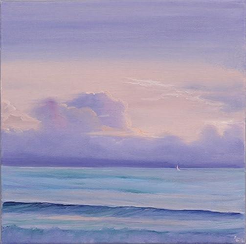 Original Sunrise Coastal Painting Ocean Beach Art Lavender Small Oil On Canvas Artwork