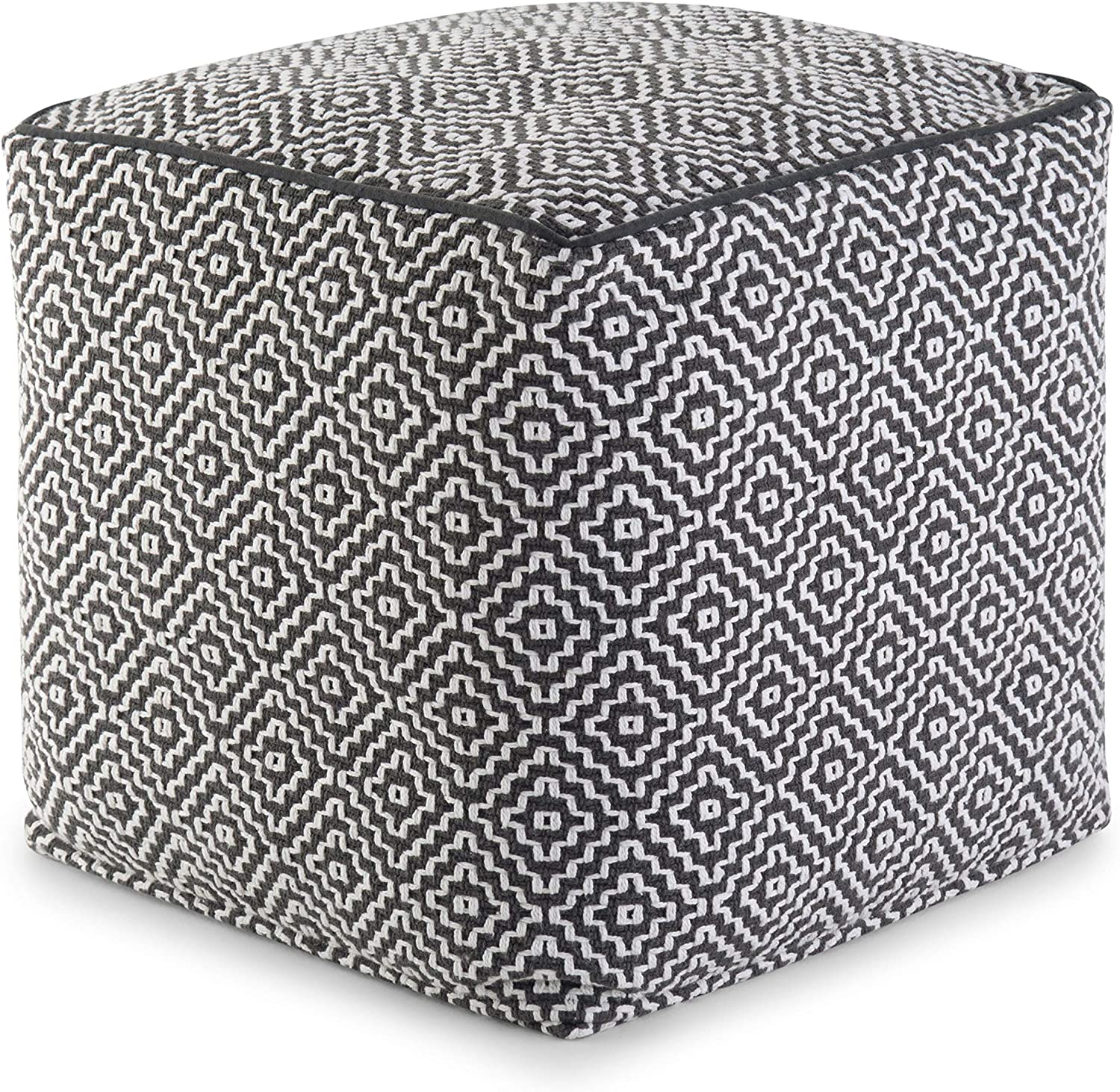 SIMPLIHOME Colsen Square Pouf, Footstool, Upholstered in Blue, White Patterned Hand Woven Cotton, for the Living Room, Bedroom and Kids Room, Transitional, Modern