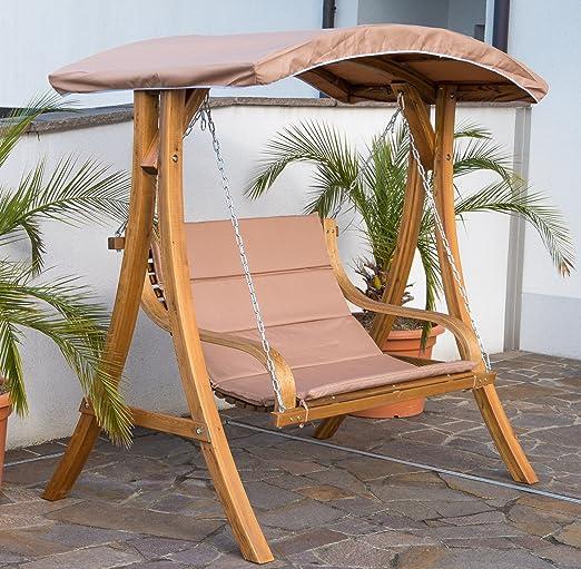 ASS Belize - Banco tipo balancín para jardín doble con techo (madera de alerce): Amazon.es: Jardín