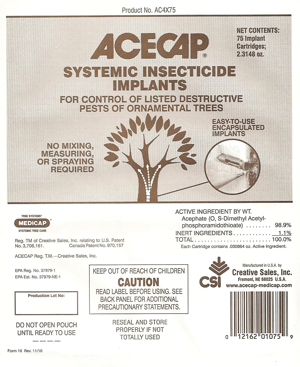 Amazon Com Acecap 75 Pack Systemic Insecticide Tree Implants For
