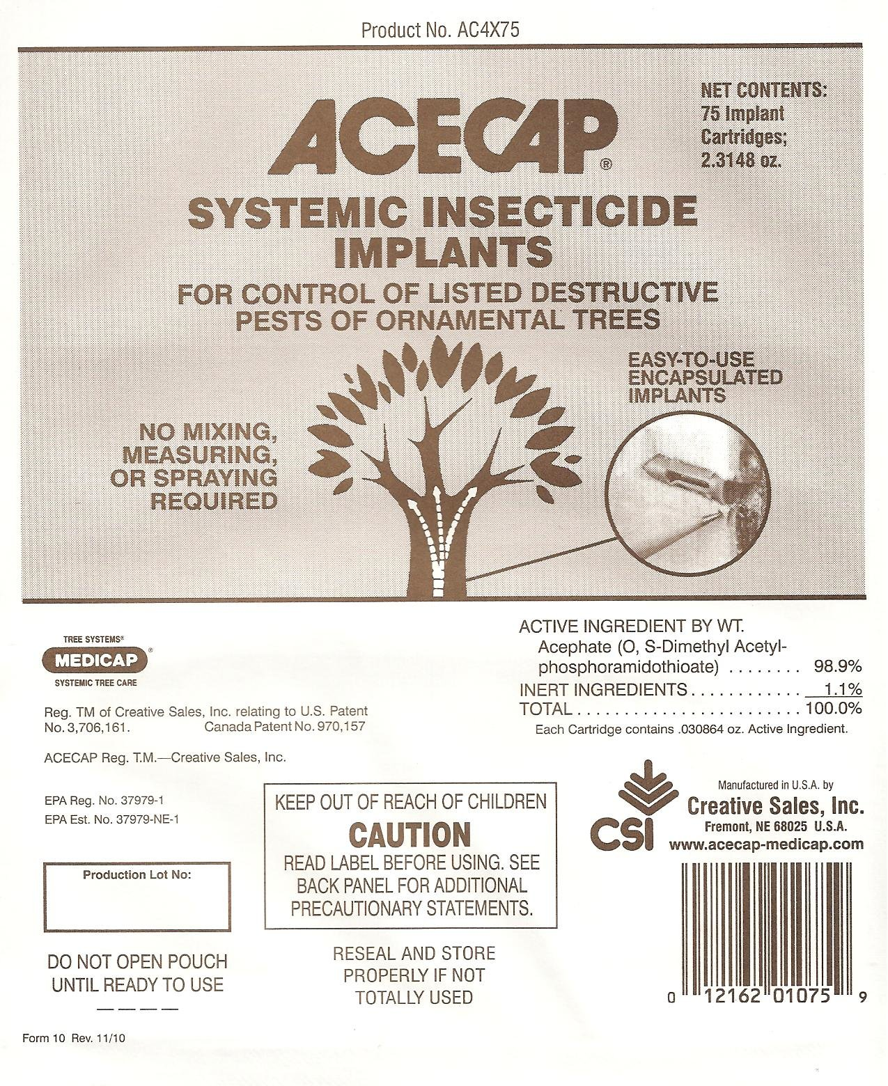 Acecap 75-Pack Systemic Insecticide Tree Implants for Control of Tree Pests, 3/8-Inch by ACE