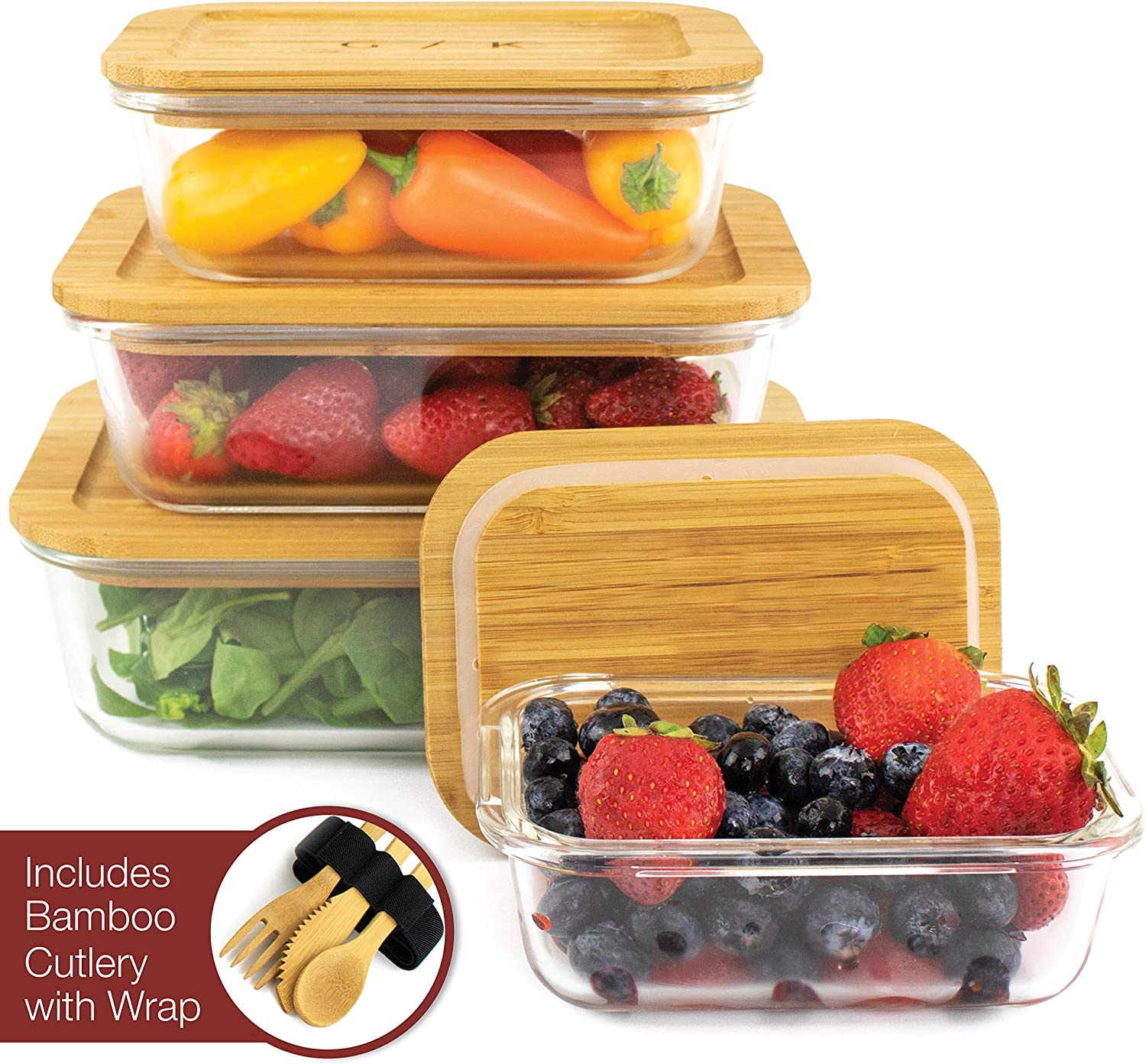 Glass Food Storage Containers with Eco Friendly, Sustainable Bamboo Lids, Set of 4. Plastic Free, BPA Free. Includes Bamboo Cutlery & Adjustable Wrap. Glass Bento Box Great for Meal Prep (assorted)