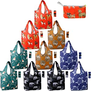 Reusable Shopping Bags Foldable Grocery Totes 10 Pack with Zipper Carry Pouch Cute Animal Gift Bags XLarge Machine Washable Durable Reusable Bags for Groceries Dog Elephant Turtle Bird Hedgehog