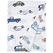 Aden by Aden + Anais Classic Swaddle Baby Blanket, 100% Cotton Muslin, Large 47 X 47 inch, Single, Hit The Road, Car