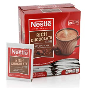 Nestle Hot Chocolate Mix, Hot Cocoa, Rich Chocolate Flavor, Made with Real Cocoa, 50 Count