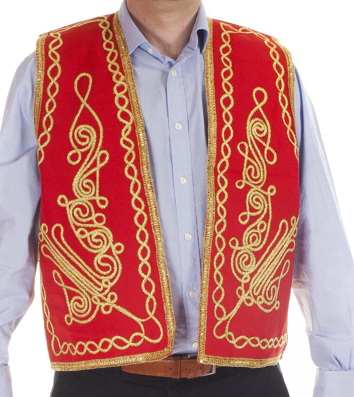 トルコ刺繍ウエストコート B00B1OHL06 レッド Large
