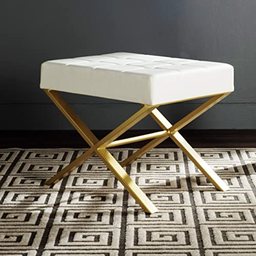 Safavieh Home Collection Badgley Modern Glam White Ottoman