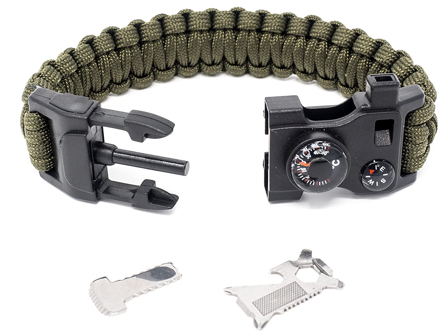 Messer Feuerstein Paracord Pfeife Thermometer Kompass Multitool STEINBOCK7/® Survival Armband 16-in-1