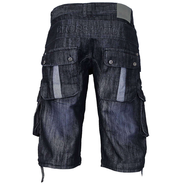 Denim Crosshatch Pantalones Cortos Cargo de hombre Vaqueros Combat Jeans de Verano Casual