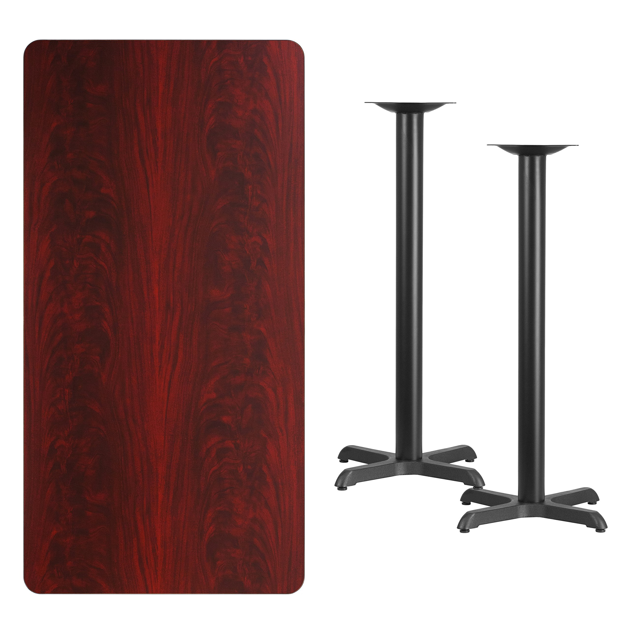 My Friendly Office MFO 30'' x 60'' Rectangular Mahogany Laminate Table Top with 22'' x 22'' Bar Height Table Bases