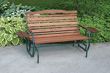 Jack Post Country Garden Hi-Back Glider with Trays and Matte Green Frame