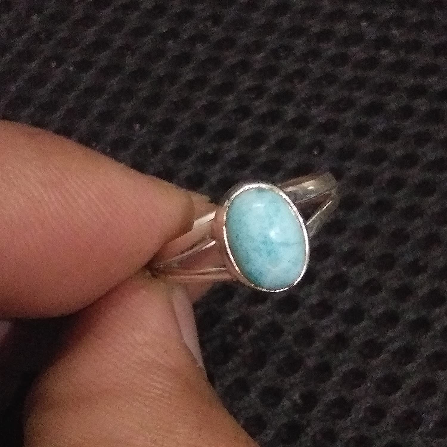 Larimar Ring.Sterling Silver Ring.Dominican Larimar Ring.March Birthstone.Larimar Silver Ring.Promise Ring.Healing Jewelry.Delicate Ring.Dainty Ring.Charm Ring.US Ring Size 3-15 (Standard)