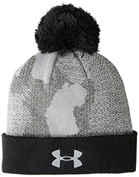 6872a4f15 Under Armour Boys Pom Beanie upd, Steel (035)/Steel, One Size ...