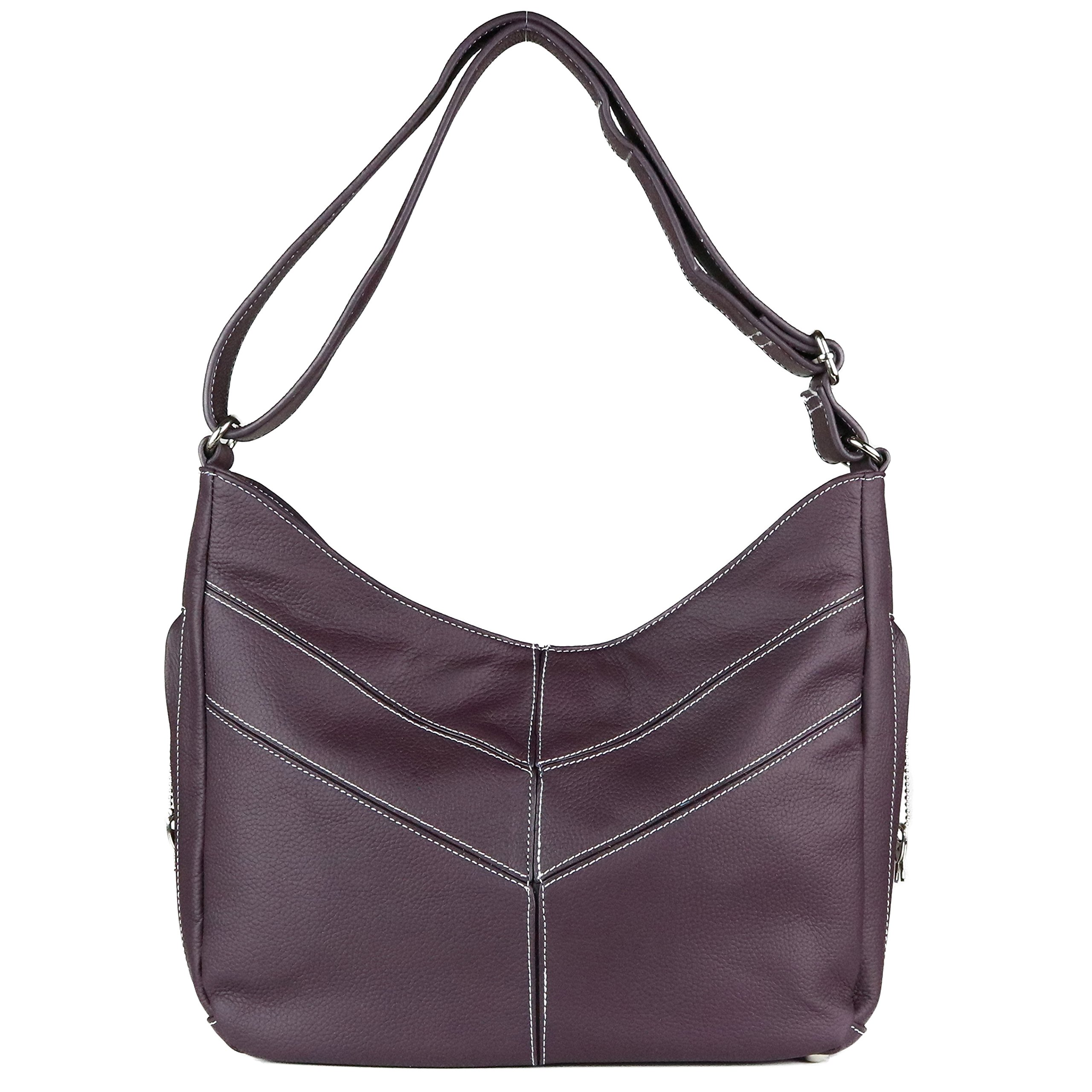 Concealed Carry Purse - The Jaden Stitched Hobo by Miss Conceal - Geniune Leather (Dark Purple)