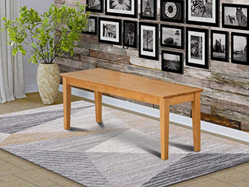 Capri bench with wood seat in Oak Finish