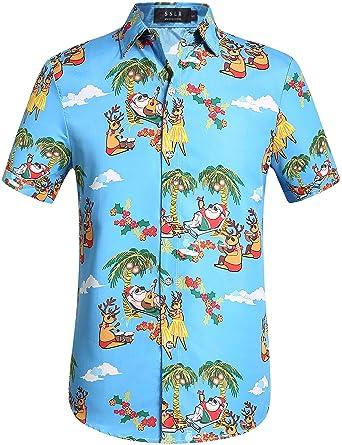 c44be1f5 SSLR Men's Xmas Santa Holiday Casual Hawaiian Ugly Christmas Shirt (Small,  Blue)
