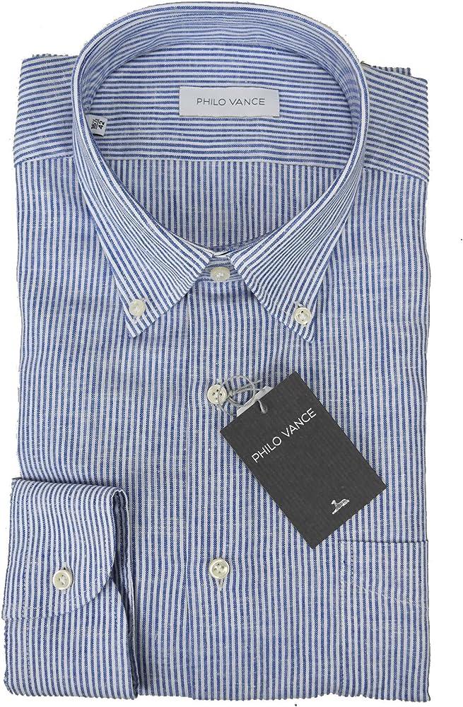 Camicia Uomo Misto Lino Righe Blu Button Down - Philo Vance - Digione - 17½ 44: Amazon.es: Ropa y accesorios