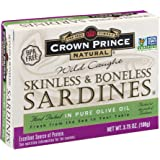 Crown Prince Natural Skinless & Boneless Sardines in Pure Olive Oil, 3.75-Ounce Cans (Pack of 12)