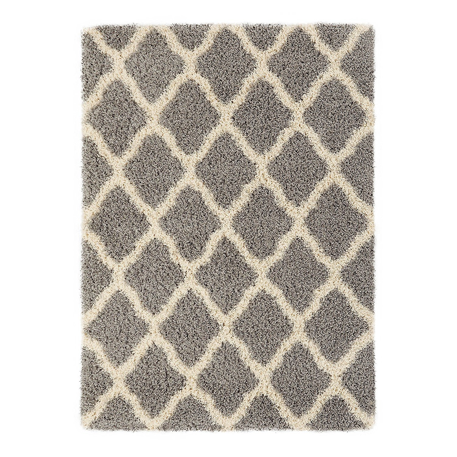 Sweet Home Stores Cozy Shag Collection Moroccan Trellis Design Shag Rug Contemporary Living & Bedroom Soft Shaggy Area Rug,   Grey & Cream,  94'' L x 118'' W by Sweet Home Stores (Image #4)